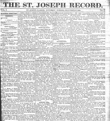 St Joseph Record Vol1 No2 12-15-1894 small